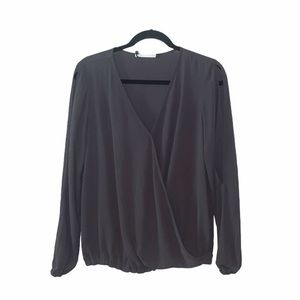 Three eight two gray long sleeve wrap style top